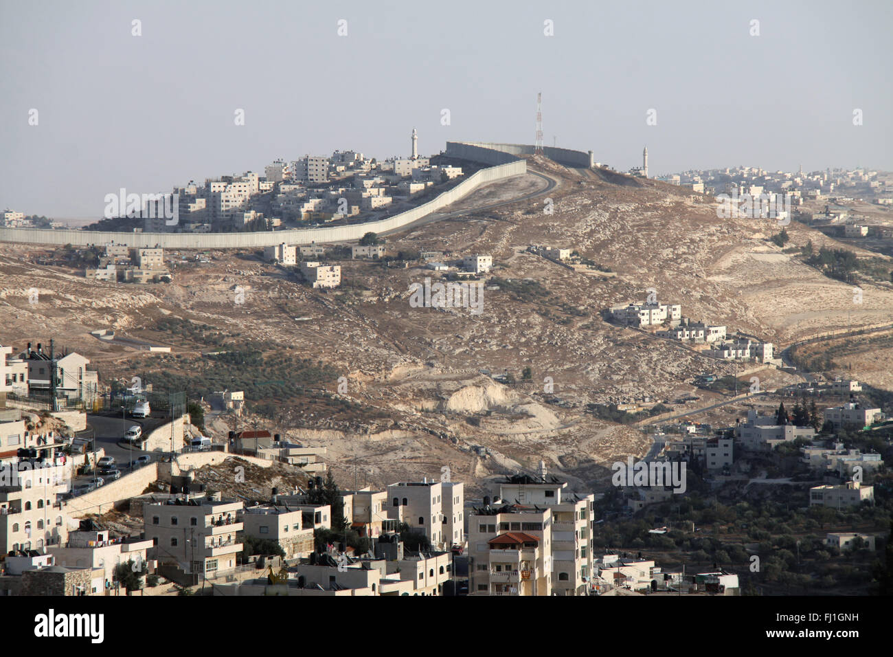 Separation wall between Israel and Palestine, seen from Jerusalem ,and Israeli jewish settlements - Stock Image