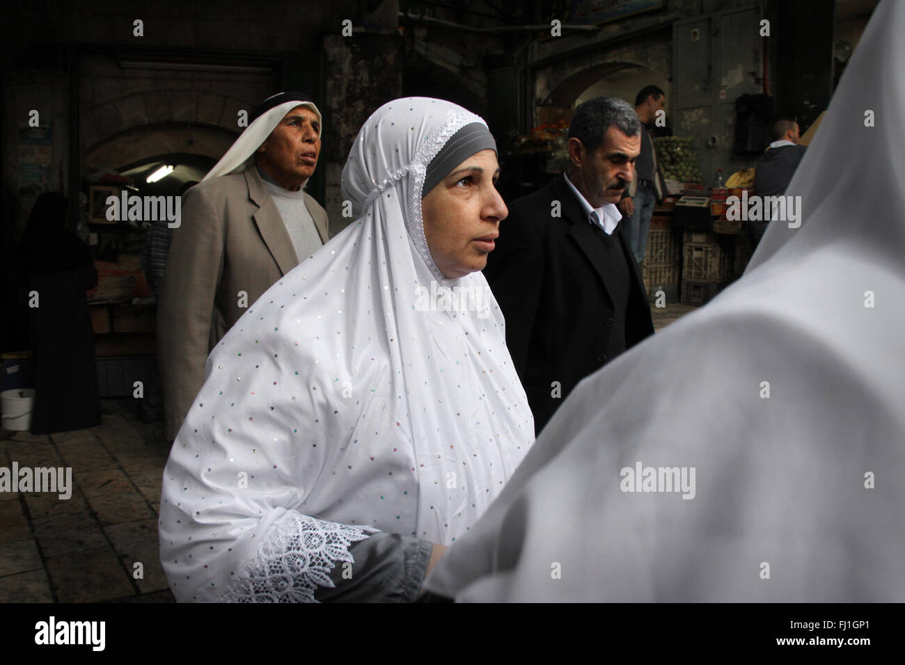 Arab people / crowd at the Damascus gate , Jerusalem old city , Israel - Stock Image