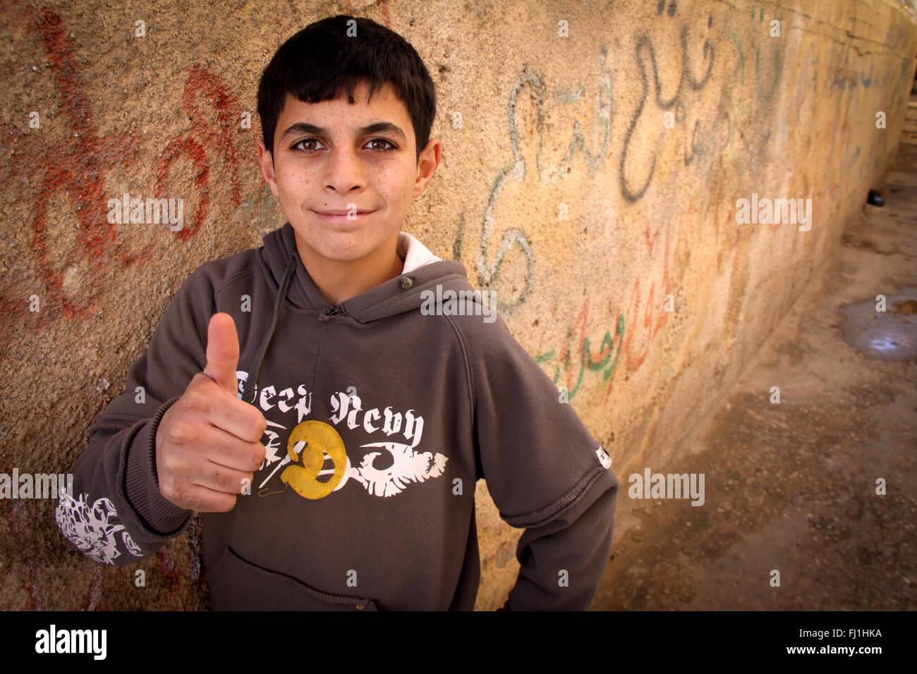 Boys in Aïda refugee camp - Palestine - Stock Image