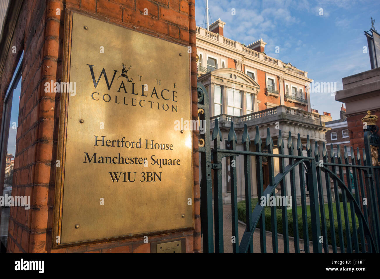 The Wallace Collection exterior sign, London, UK - Stock Image