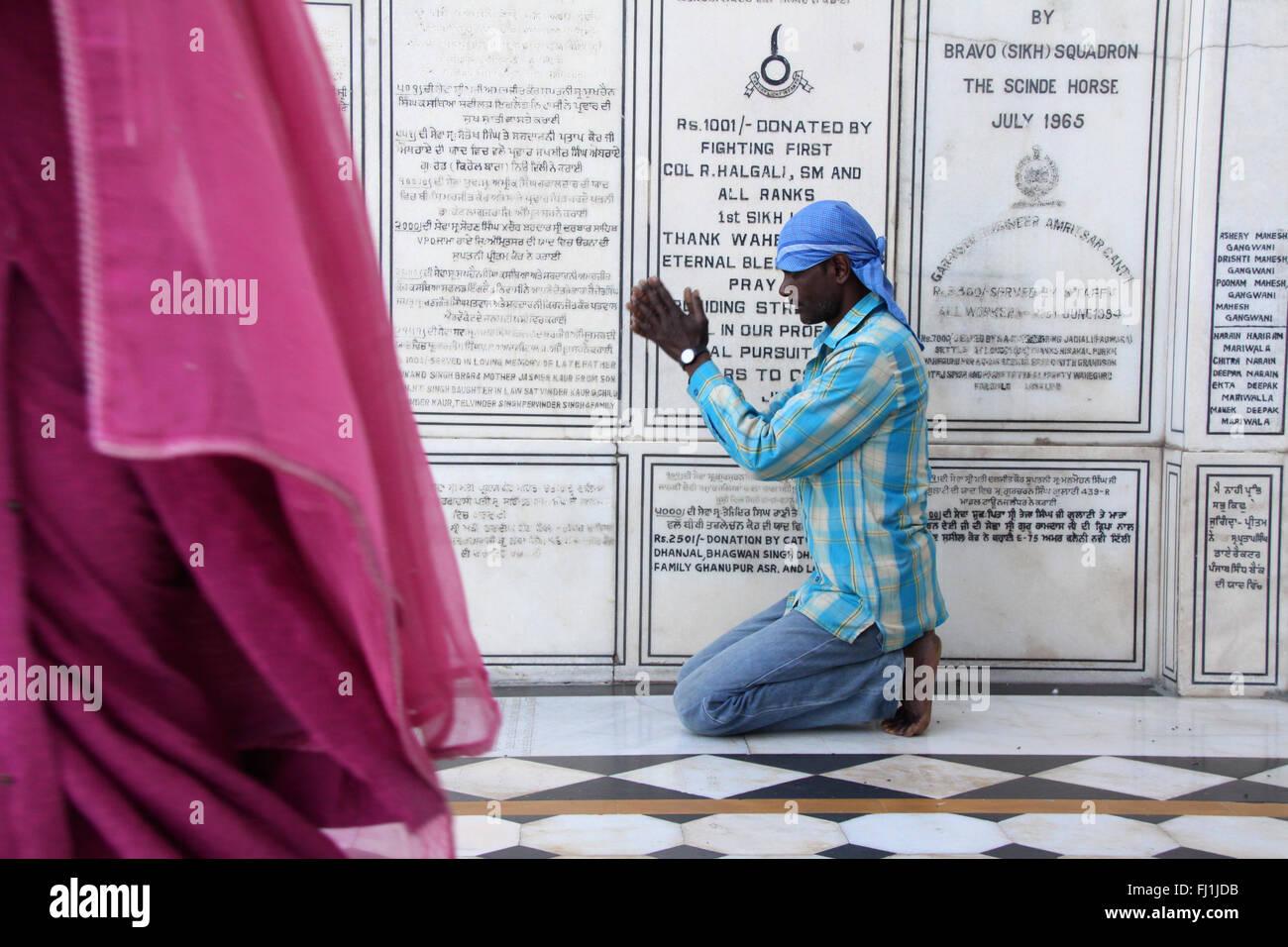 Sikh pilgrims  pray at the Golden temple, Amritsar , India - Stock Image