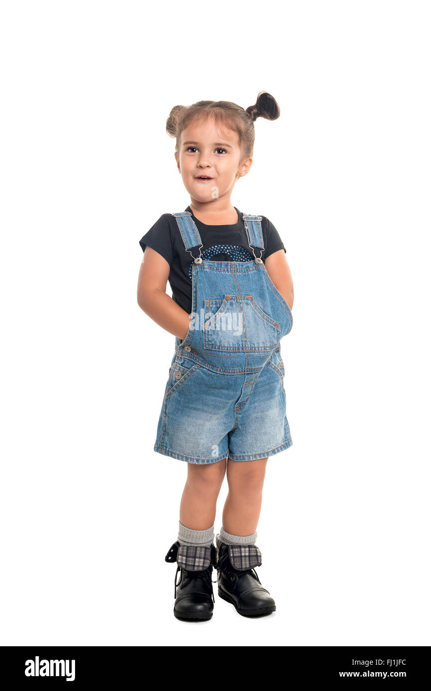 Cute and stylish baby girl  posing in studio.Isolated - Stock Image