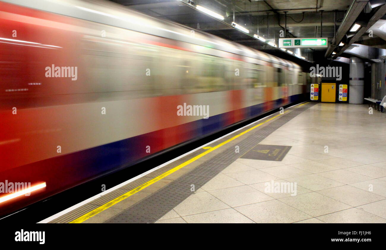 Train arriving at a tube station, London, United Kingdom - Stock Image