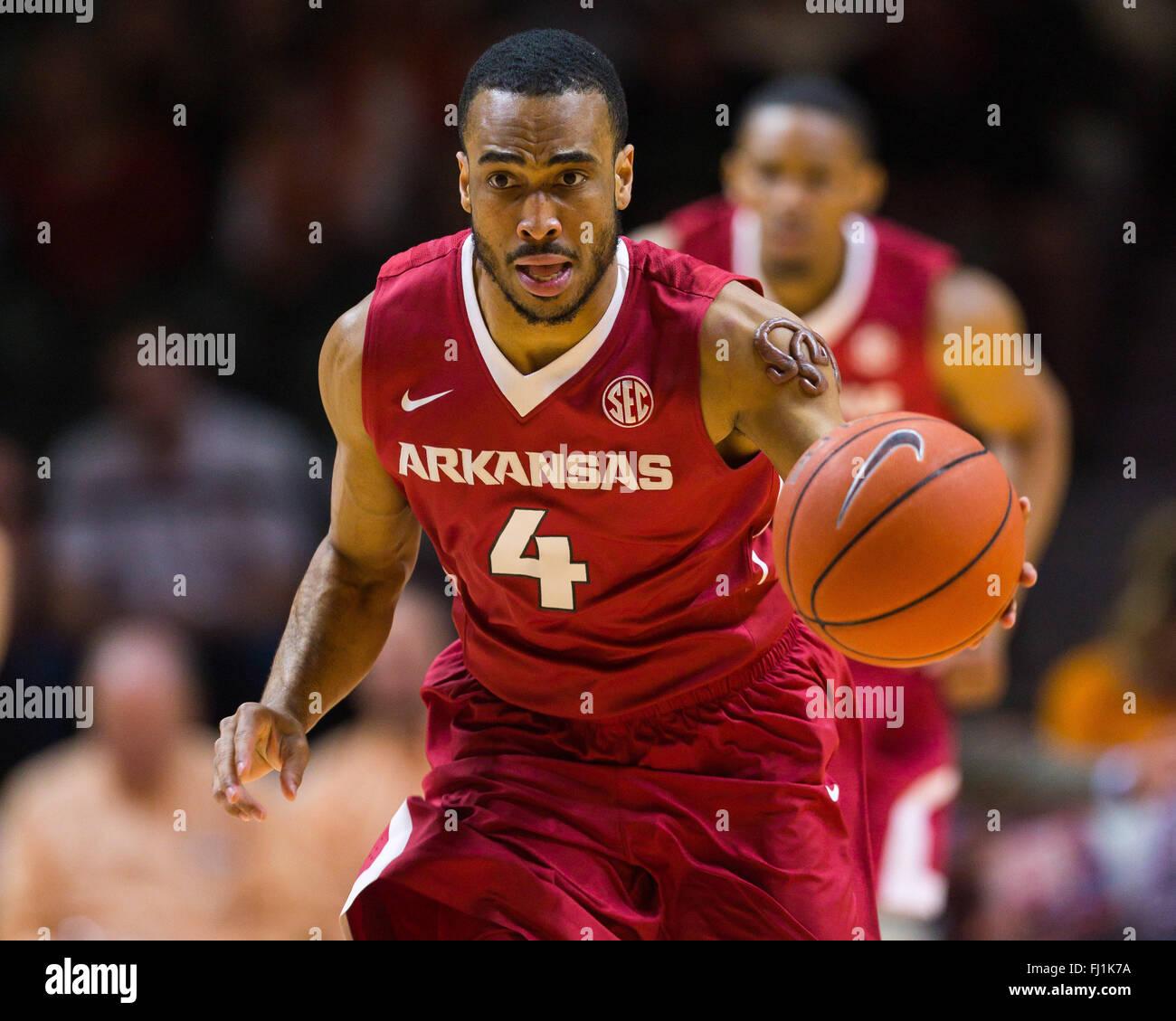 February 27, 2016: Jabril Durham #4 of the Arkansas