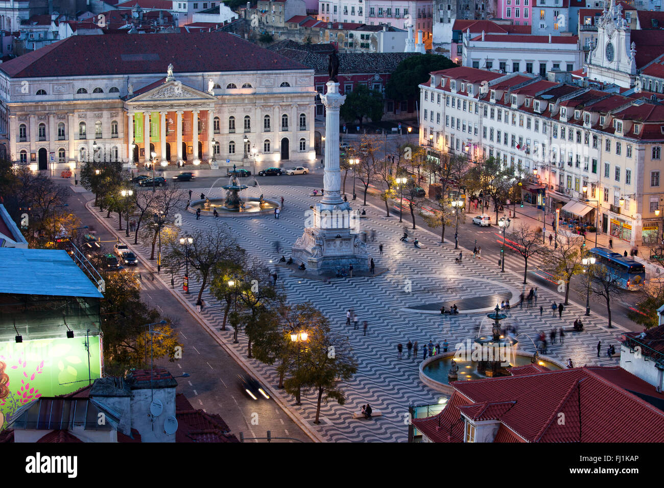 Rossio Square at night, city centre of Lisbon, Portugal, Europe - Stock Image
