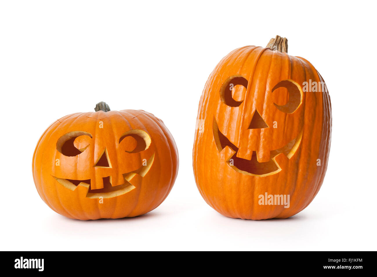 Two Halloween pumpkins on white background - Stock Image
