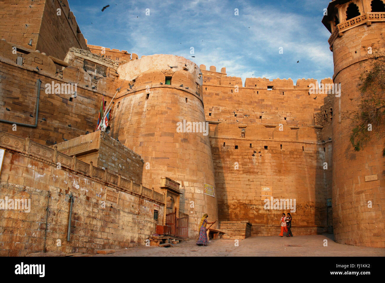 Entrance  and rampart of Jaisalmer fort, Rajasthan, India - Stock Image