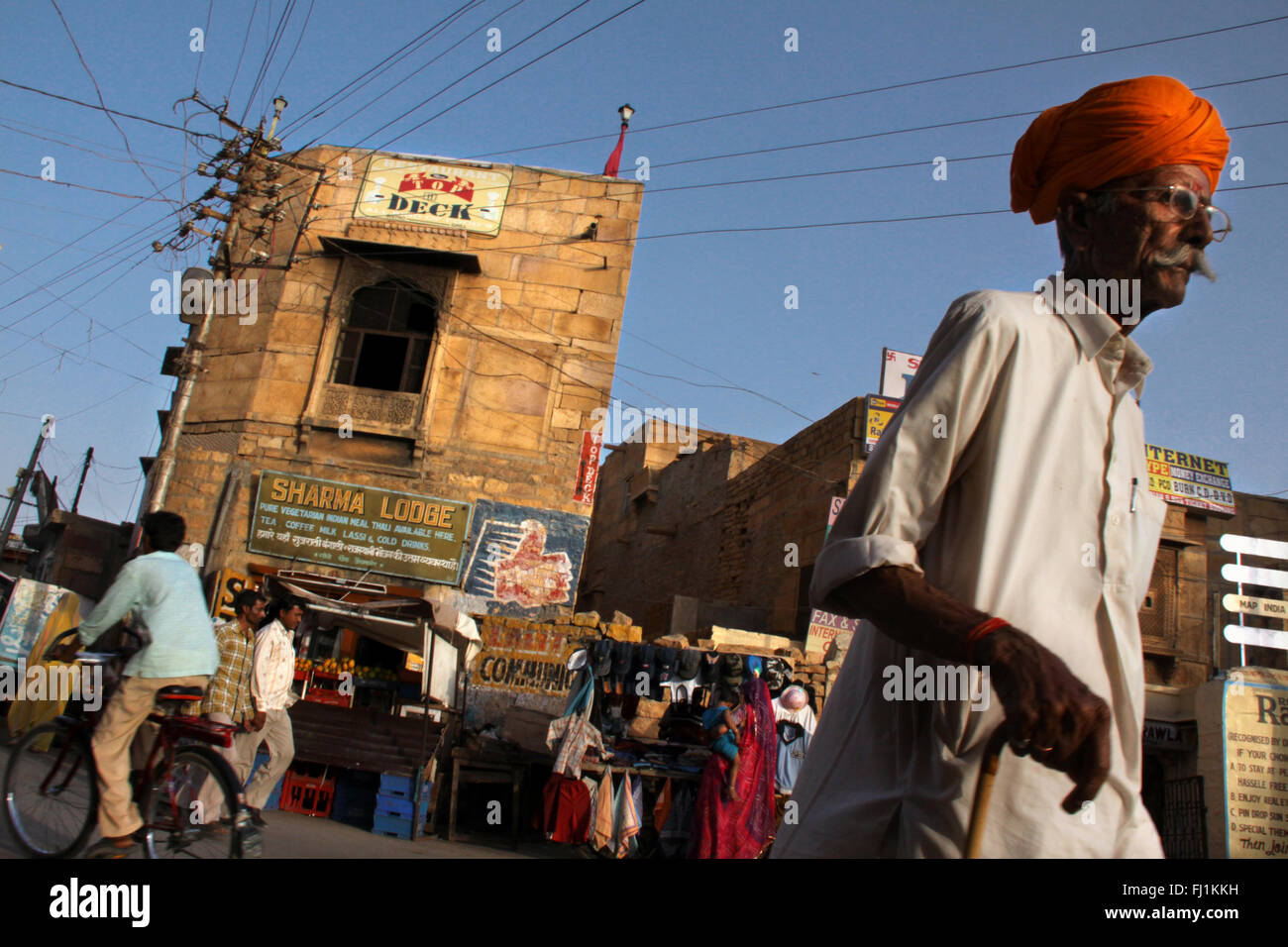 People in a street of Jaisalmer, India - Stock Image