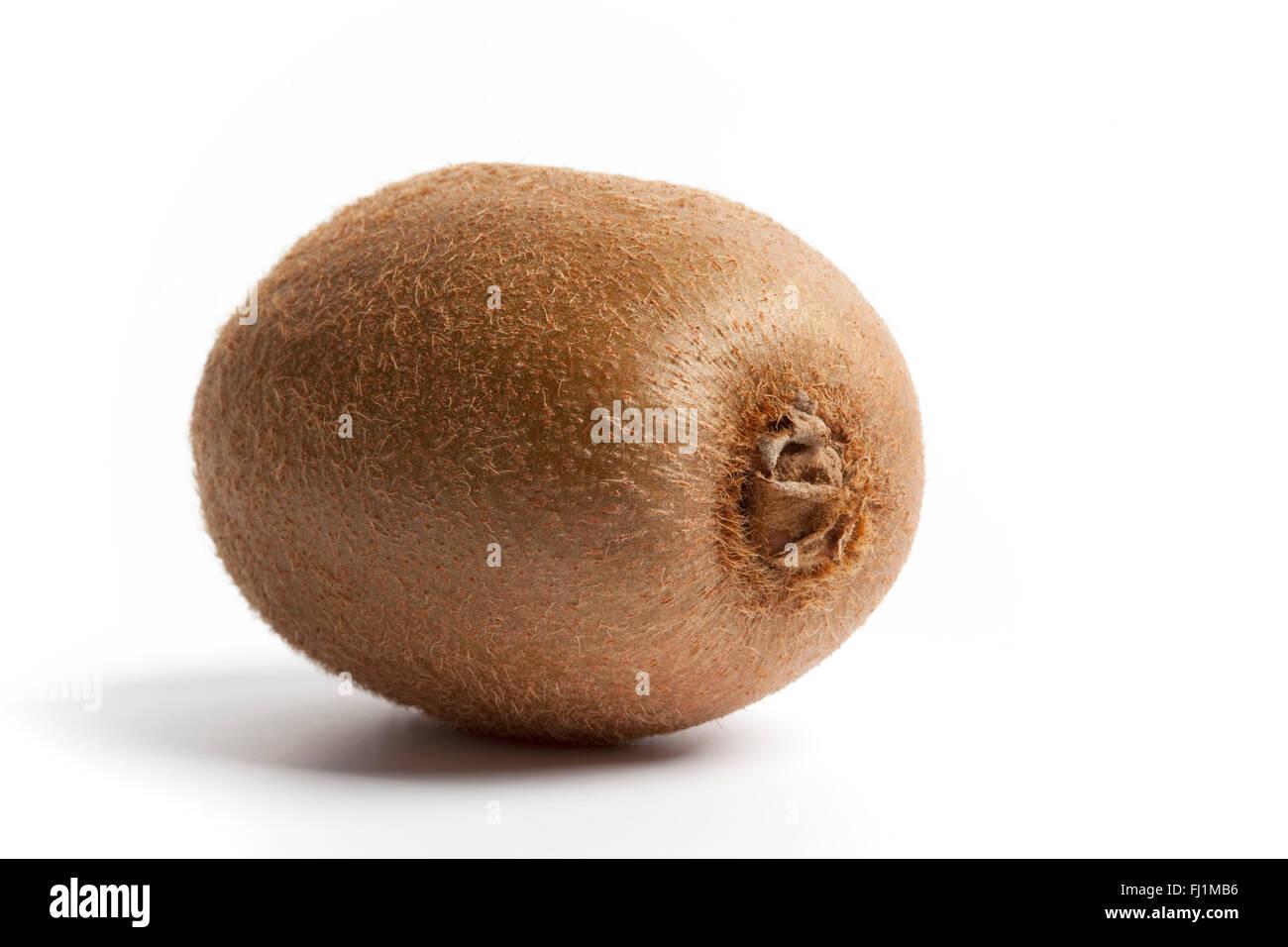 One fresh whole kiwi fruit on white background - Stock Image