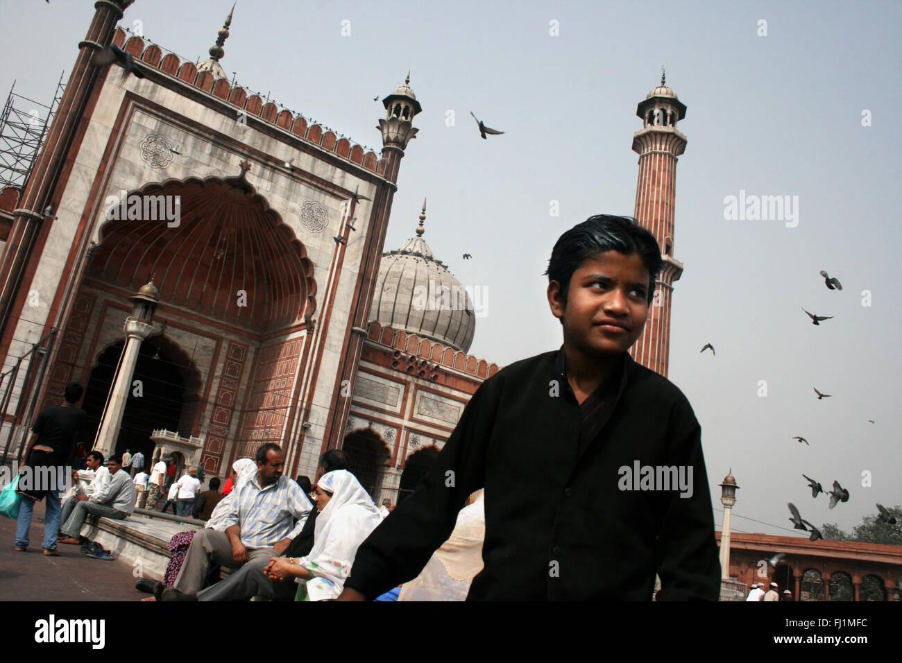 Muslims at Jama Masjid (great mosque) of Old Delhi , India - Stock Image