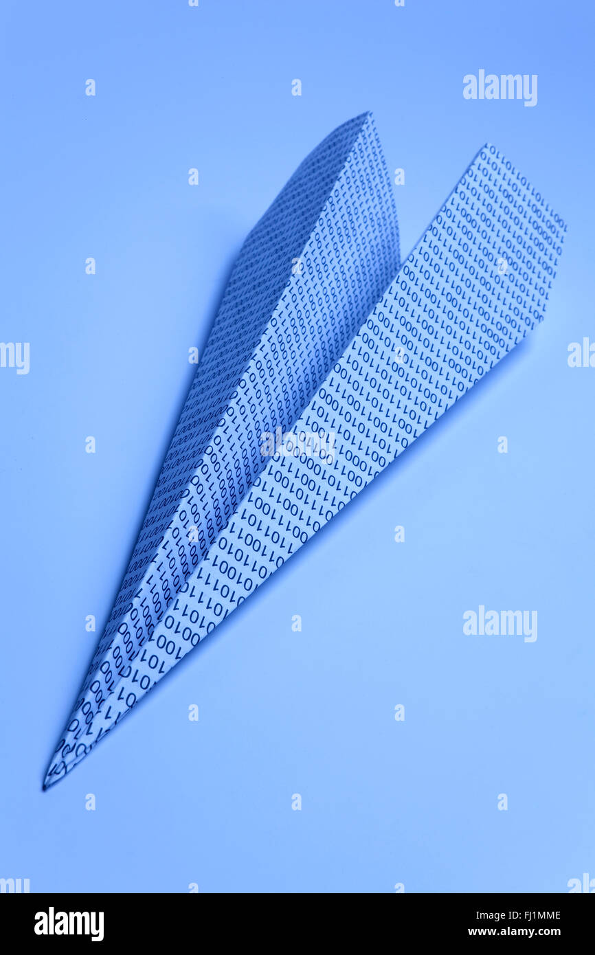 Paper arrow with zero and ones - Stock Image