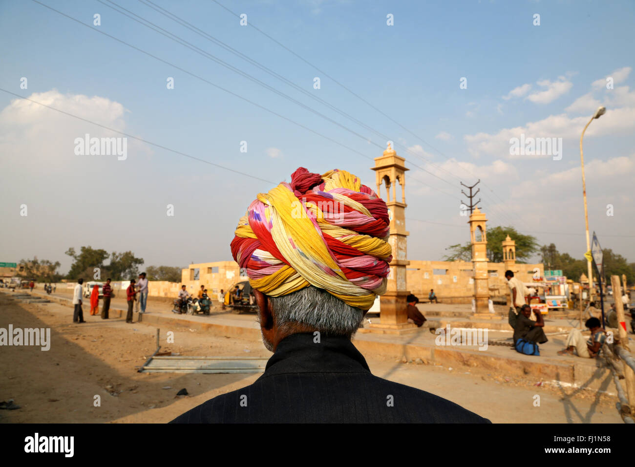 Portrait of man with turban in Jaisalmer , Rajasthan, India - Stock Image