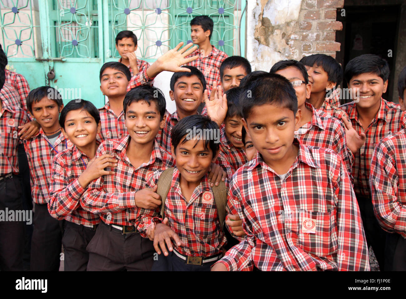 School boys with uniform dress code in Bhuj, Gujarat , India - Stock Image