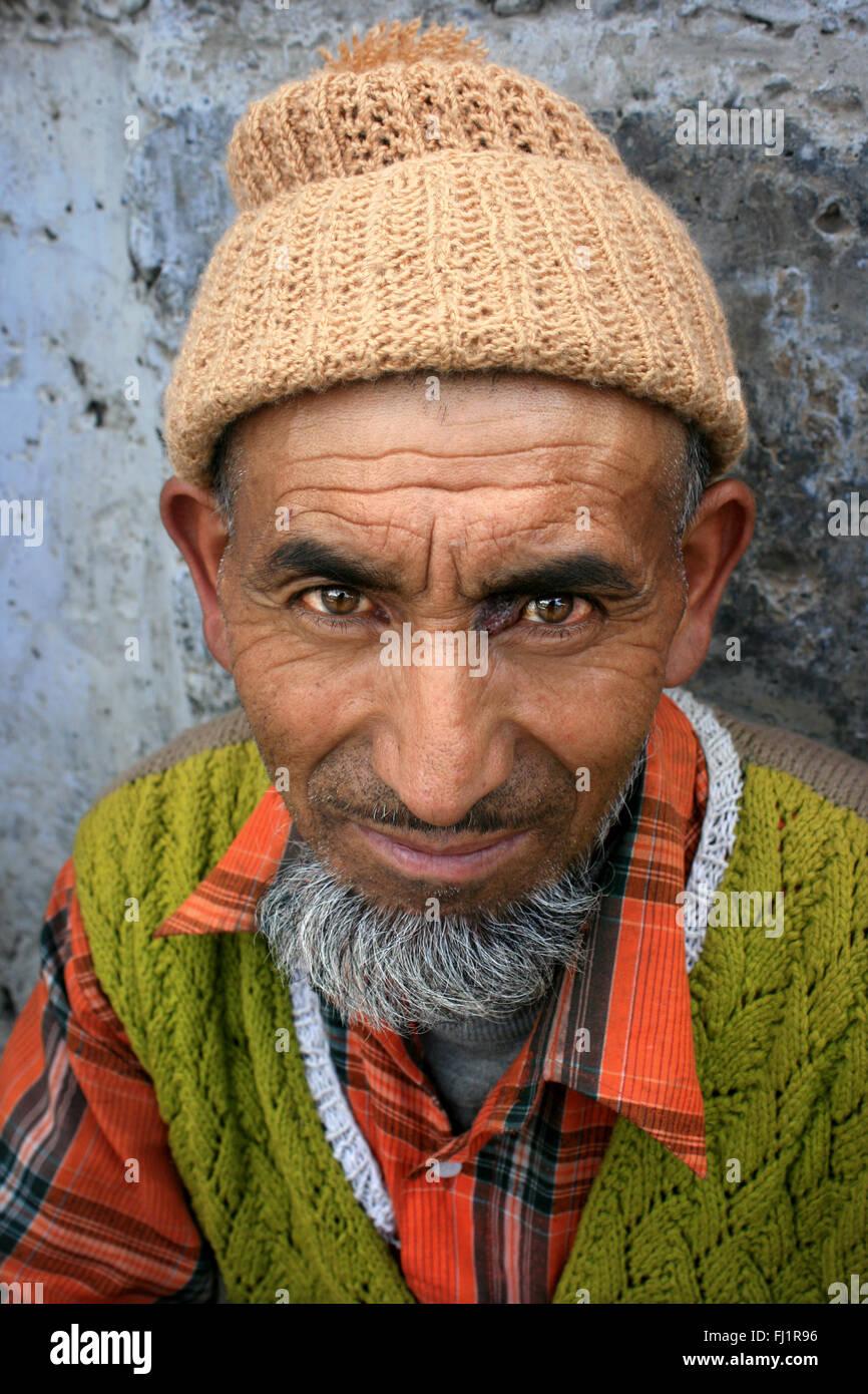 Kashmiri Muslim man in Leh , Ladakh , India - Stock Image