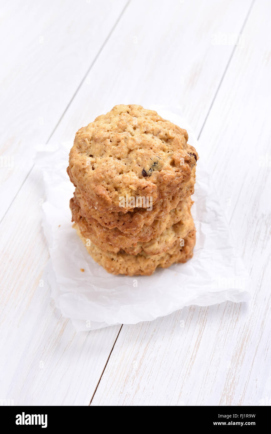 Oats cookies on white background - Stock Image