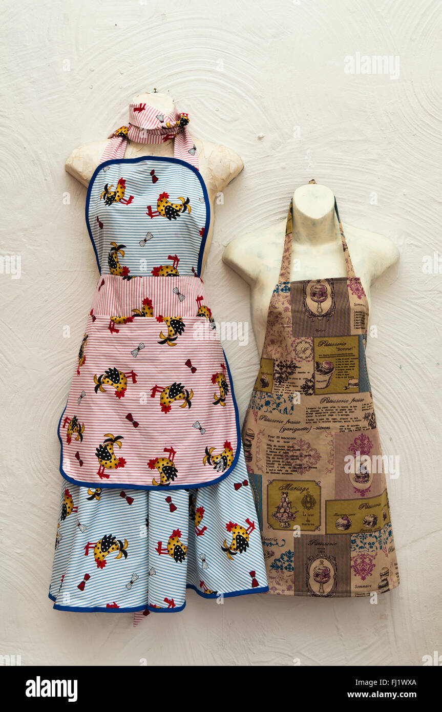 Two hand made vintage style cooking aprons for sale, one with stripes and  cartoon chickens and the other with French recipes