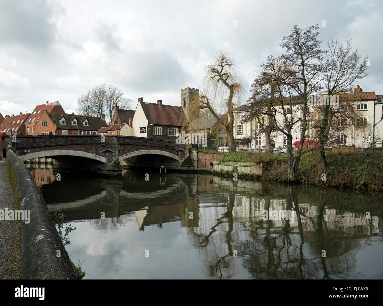 Images around Norwich's River Wensum near the Quay Side showing local buildings and landmarks Stock Photo