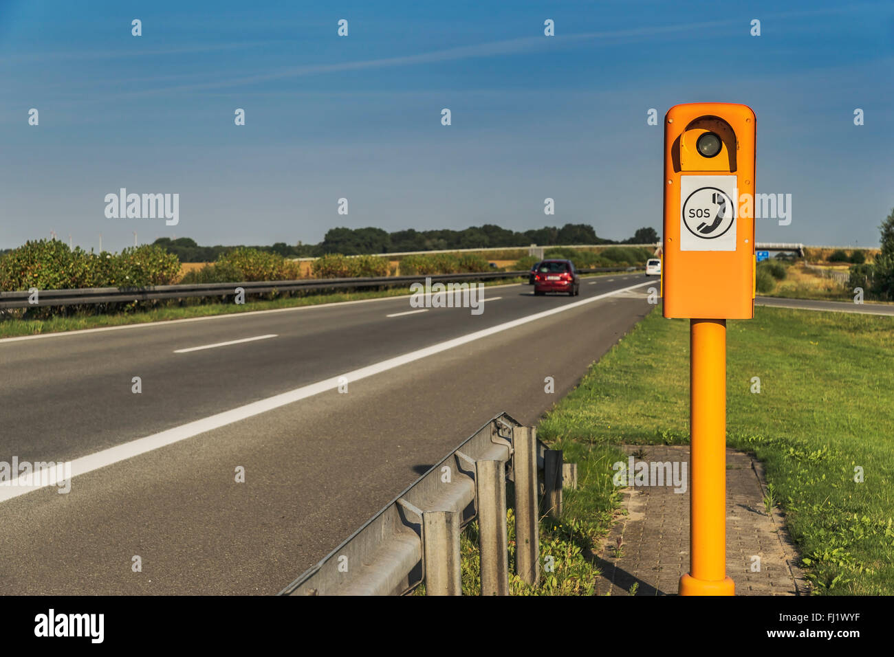 Emergency telephone on the German Highway (Autobahn), Germany, Europe - Stock Image