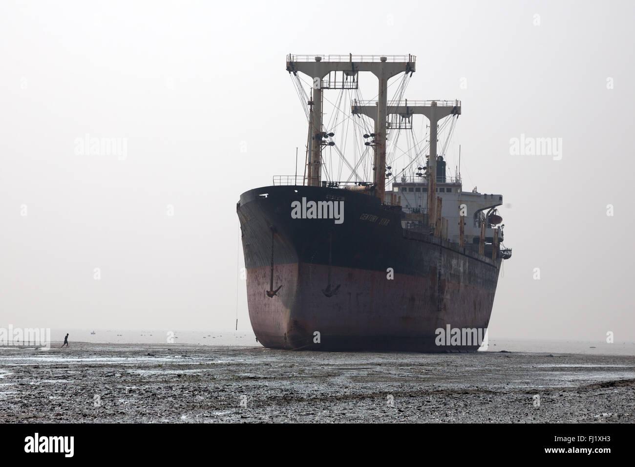 Ship breaking yard in Chittagong , Bangladesh - Stock Image