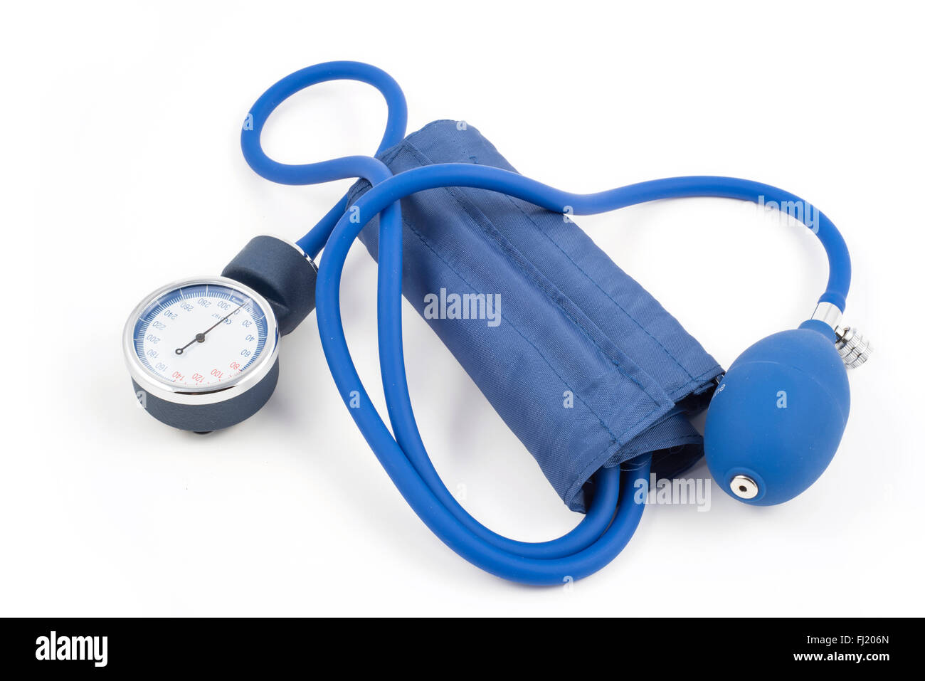 Aneroid sphygmomanometer on white background - Stock Image