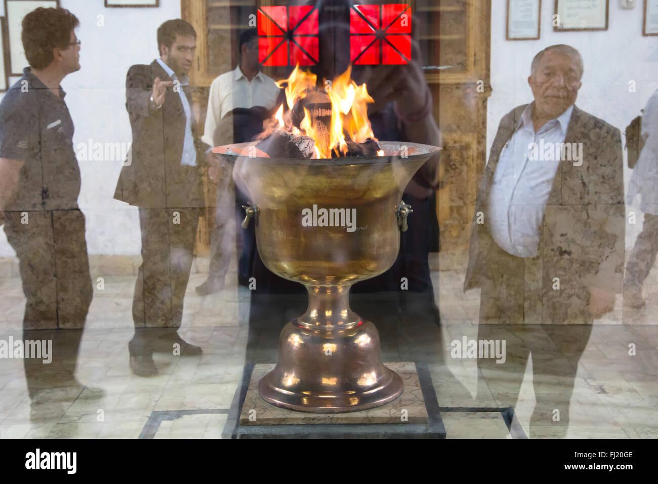 Zoroastrian Fire Temple Eternal Flame , Atash Behram  , Yazd , Iran - Stock Image