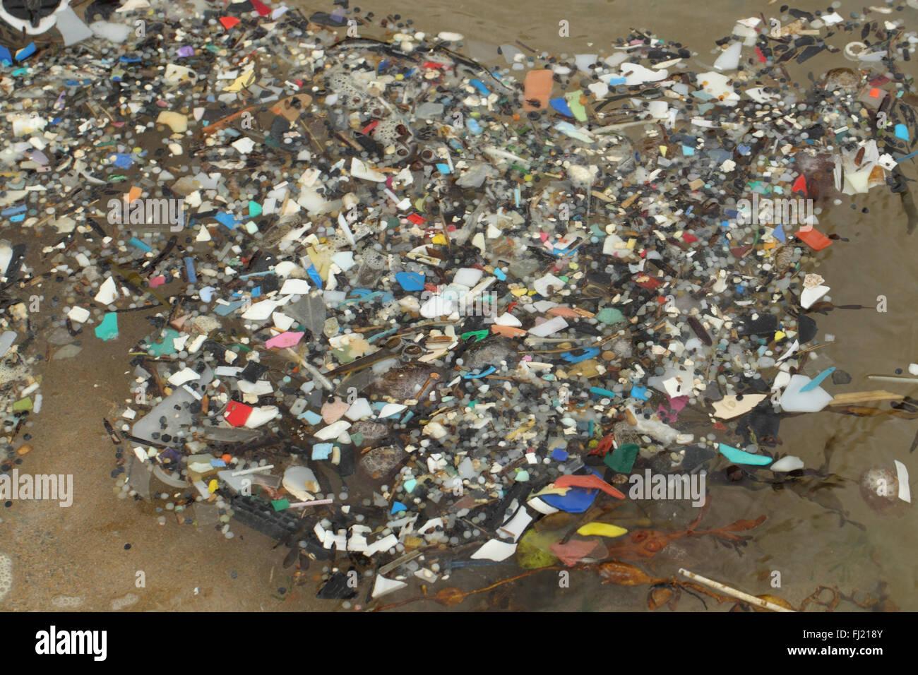 Micro plastics in Cornish rockpool , Newquay Cornwall UK December - Stock Image