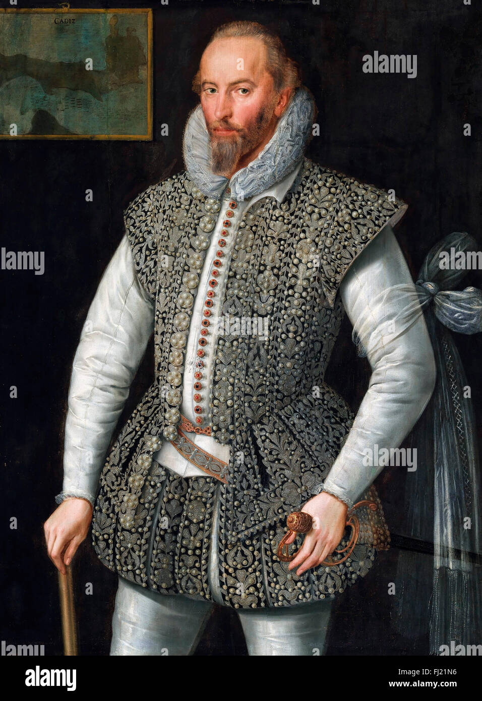 Sir Walter Raleigh (c.1554-1618). Portrait of the Elizabethan poet, explorer, soldier and sailor, painted in 1598 - Stock Image