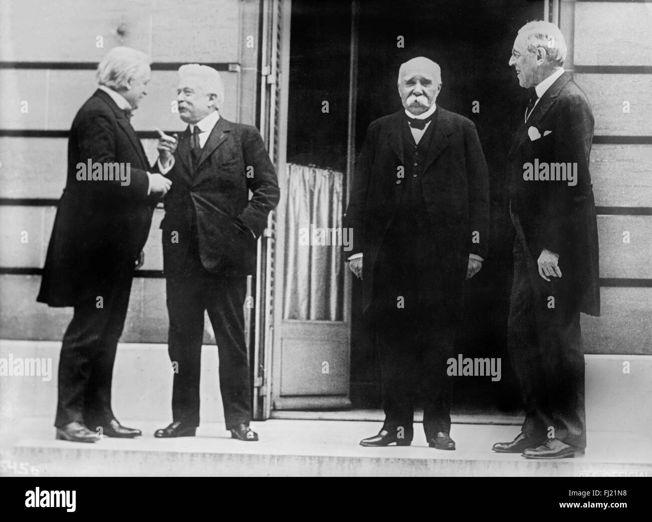 The 'Big Four' world leaders at World War I Peace Conference in Paris on May 27, 1919. From left to right: - Stock Image