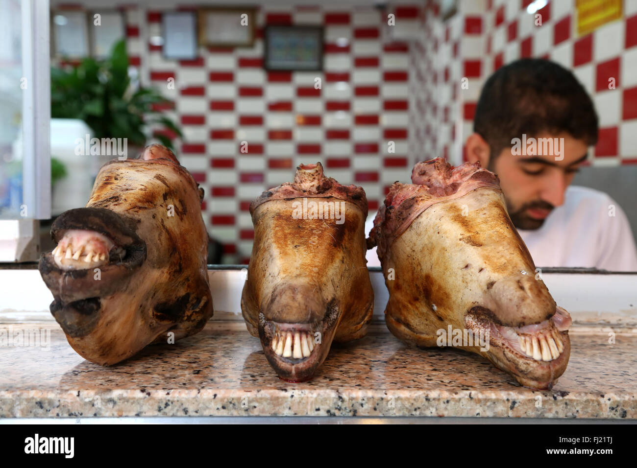 Mutton heads for sale at the butcher's in Istanbul , Turkey - Stock Image