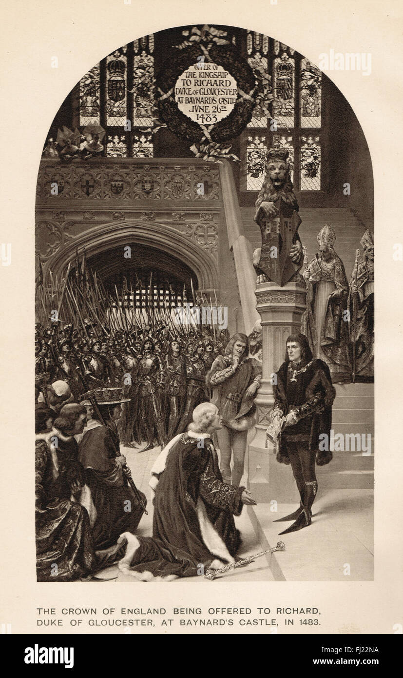 the crowing of richard the third and Richard then asks the prince if he is willing to spend the night in the tower of london, which is the traditional place for kings to stay on the night before their coronation edward, however, fears the tower as a prison and is reluctant.