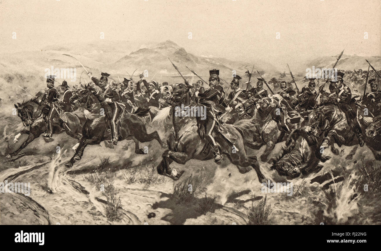 The Charge of the Light Brigade in 1854 Stock Photo
