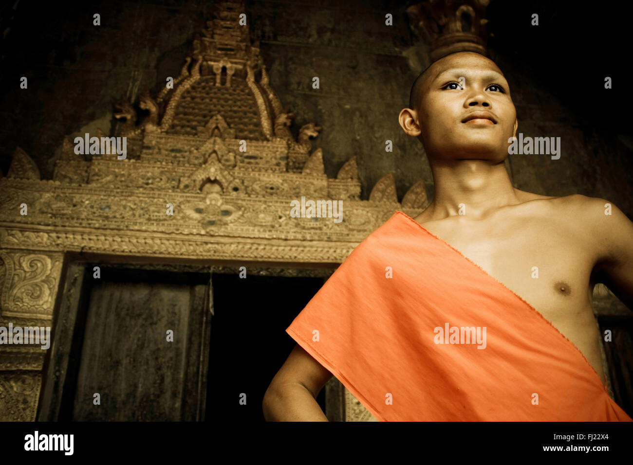 Portrait of bddhist monk in Luang Prabang , Laos, Asia - Stock Image
