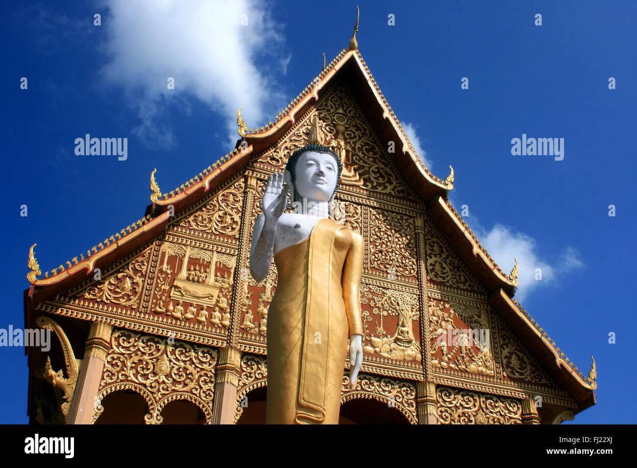 Buddhist architecture at Wat Xieng Thong, Luang Prabang - Stock Image