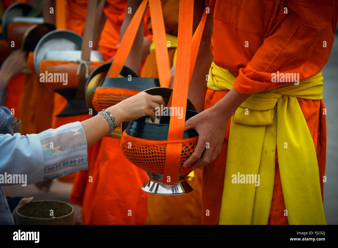 Tak bat ritual - Buddhist monks receive rice and  food from pupulation in early morning in Luang Prabang , Laos, - Stock Image