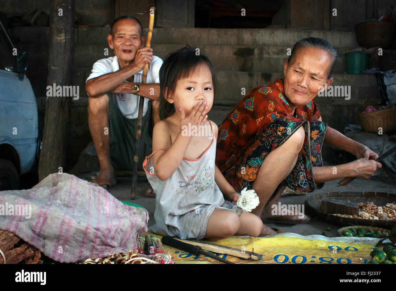 Beautiful portrait of Laotian family , Laos - Stock Image