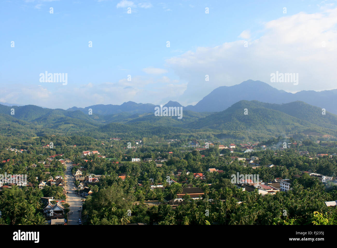 View on Luang Prabang city, Laos (landscape architecture and nature) - Stock Image