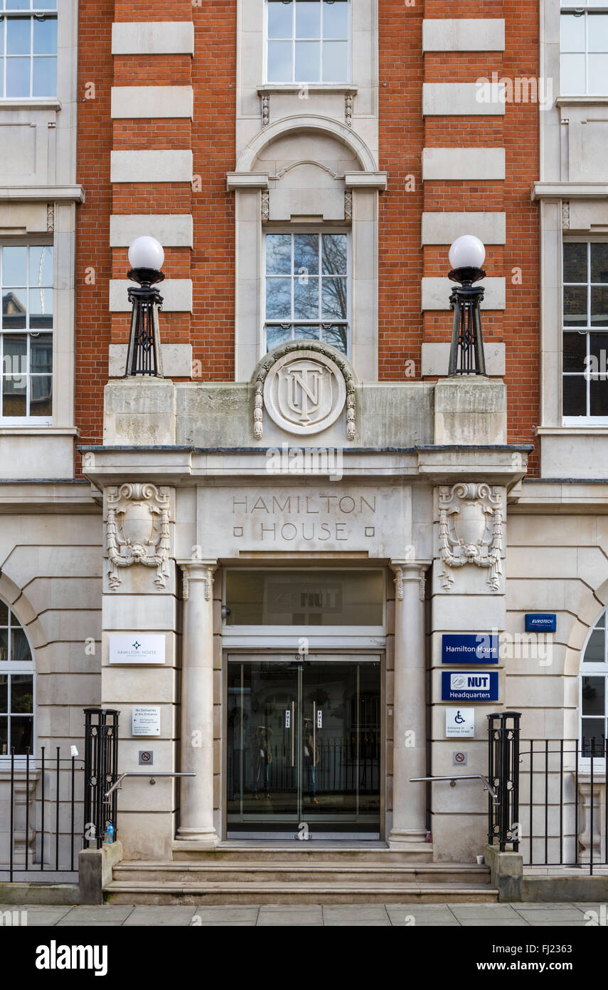 National Union of Teachers headquarters at Hamilton House, Mabledon Place, Kings Cross, London, England, UK - Stock Image