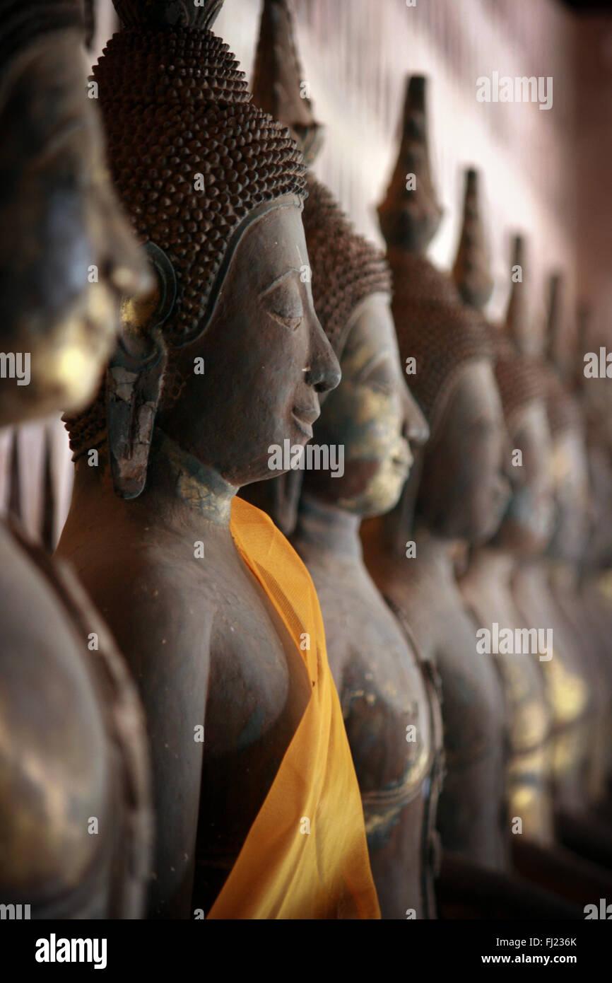 Buddha statues at Vat Sisakhet, Vientiane, Laos - Stock Image