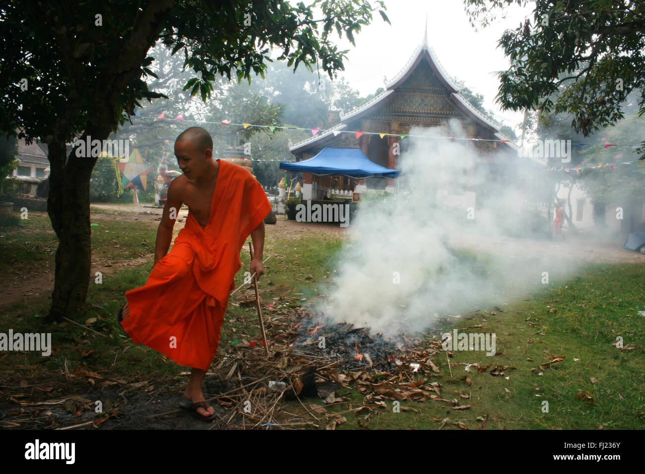 Buddhist monks in Luang Prabang , Laos, Asia Stock Photo