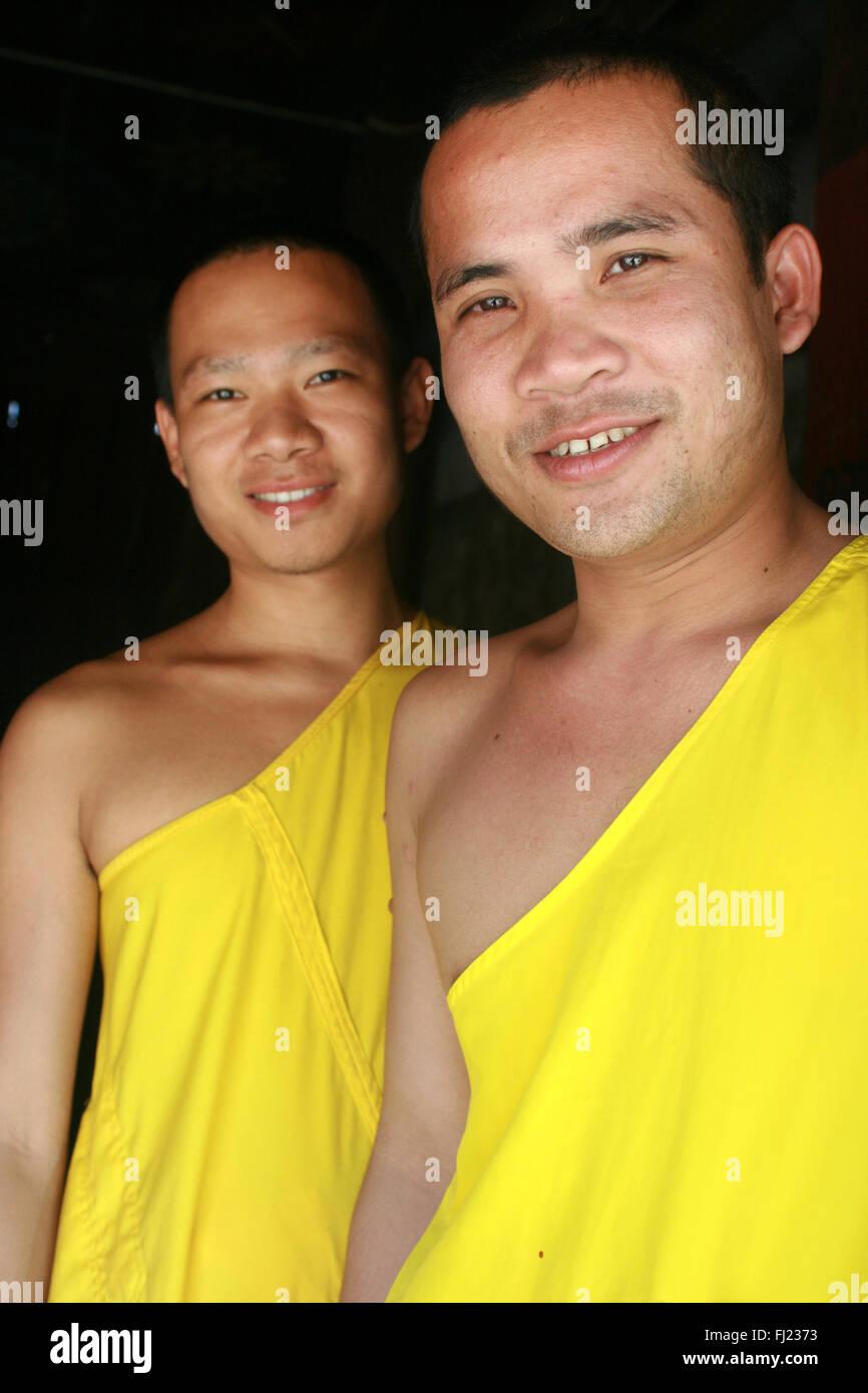Buddhist monks in Luang Prabang , Laos, Asia - Stock Image