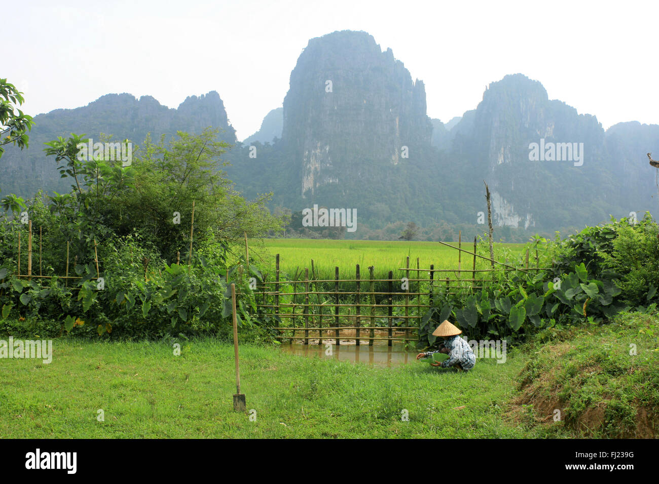 Laos pictures of people and landscapes - Stock Image