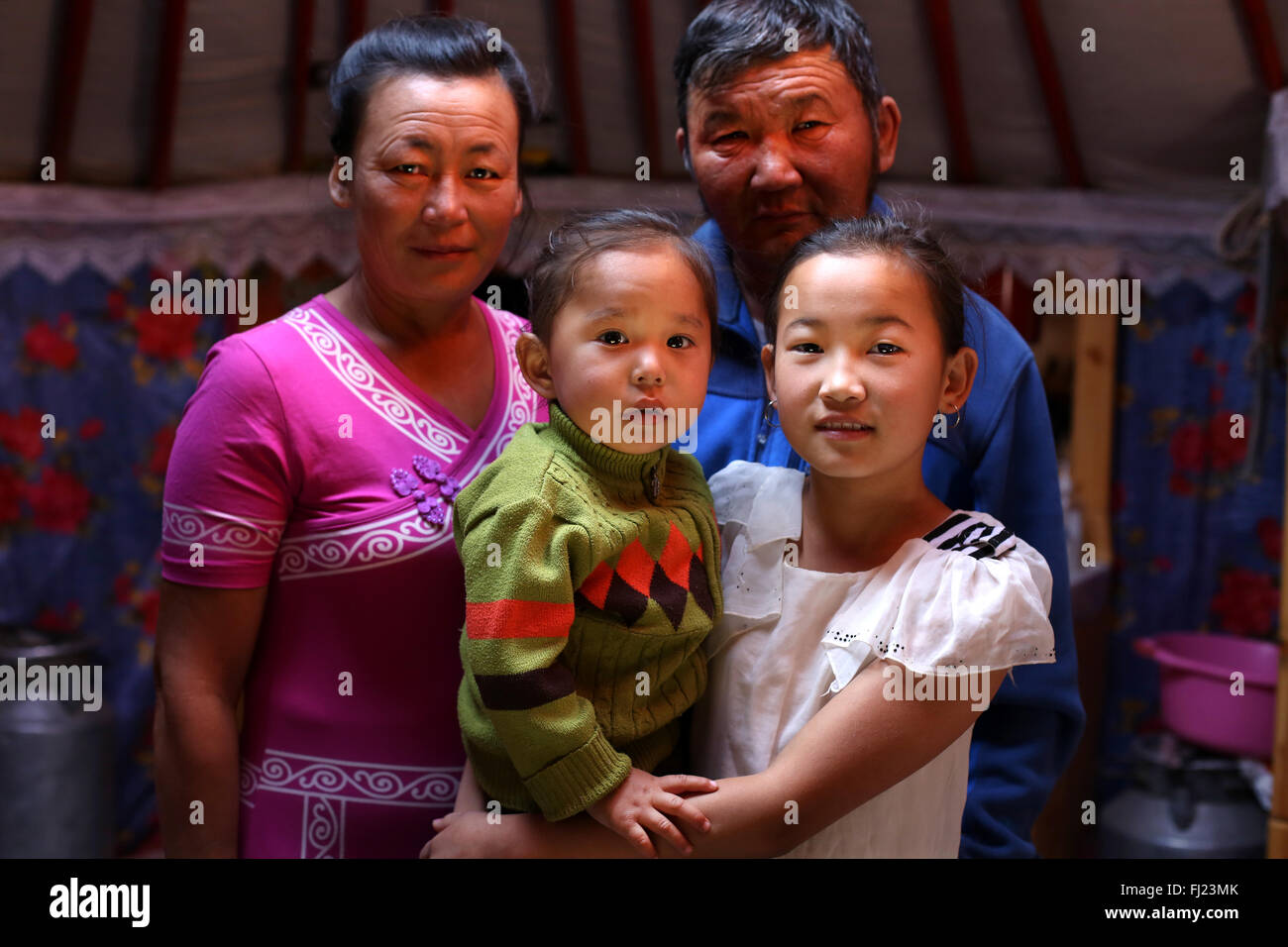 Nomadic family in Mongolia - Stock Image