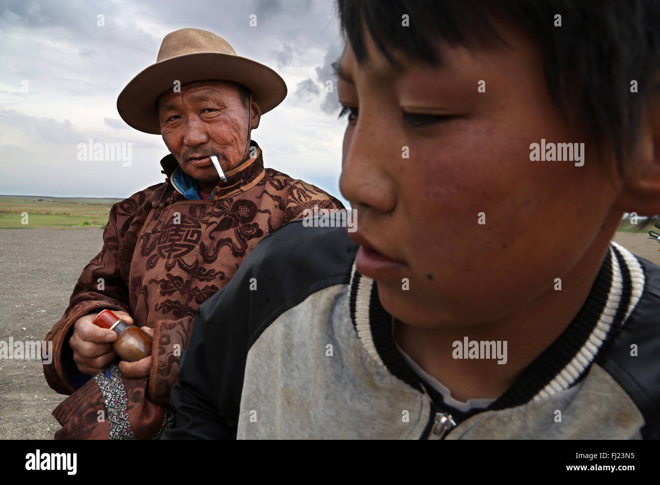 Portrait of man from Mongolia - Stock Image