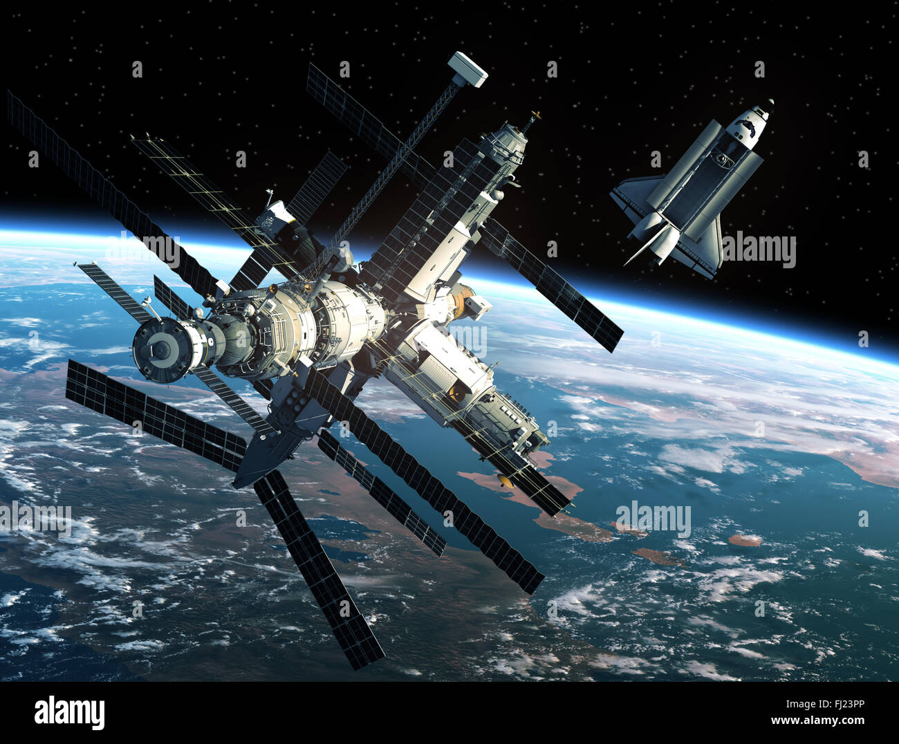 Space Station And Space Shuttle - Stock Image