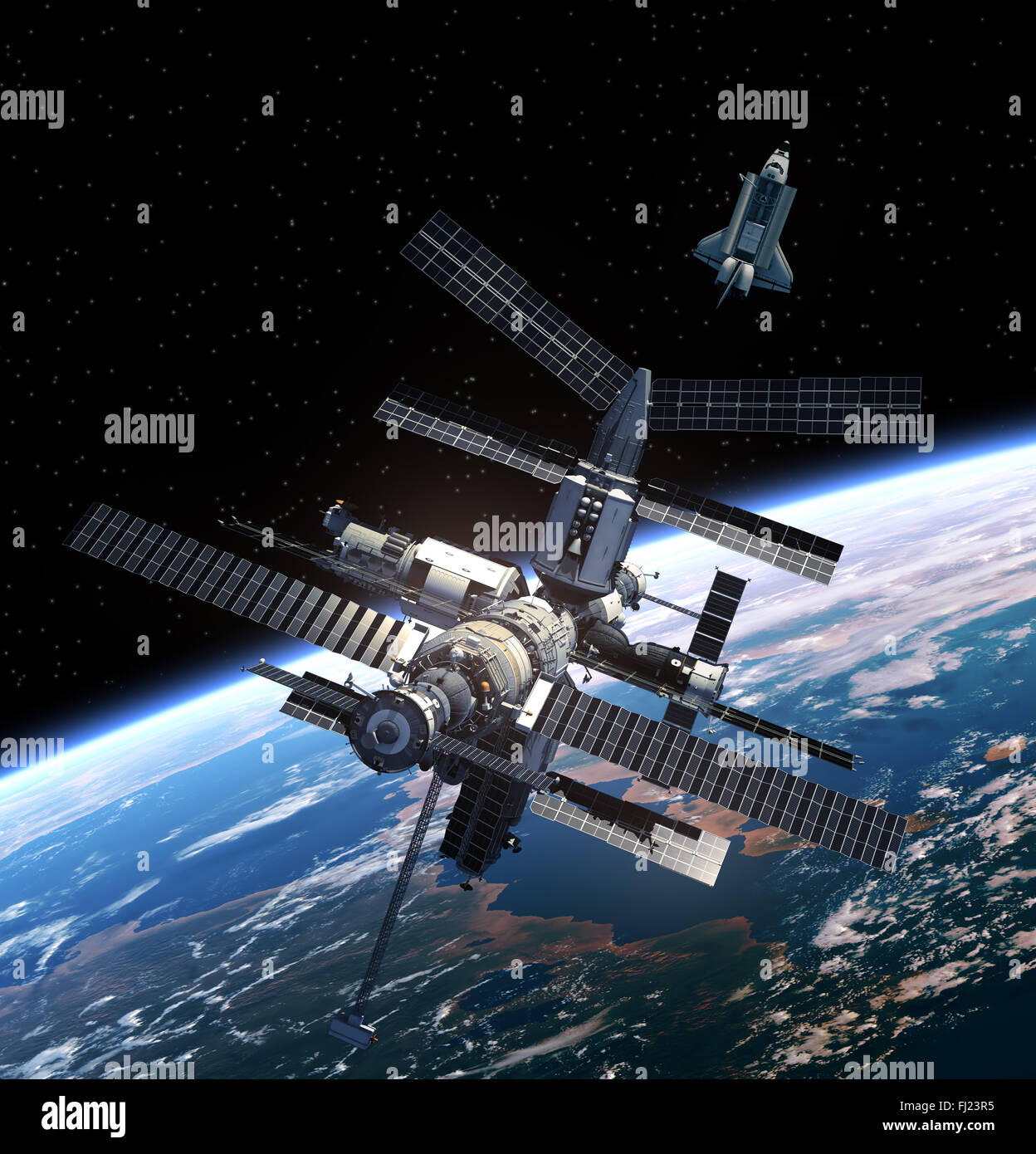 Space Station And Space Shuttle. - Stock Image
