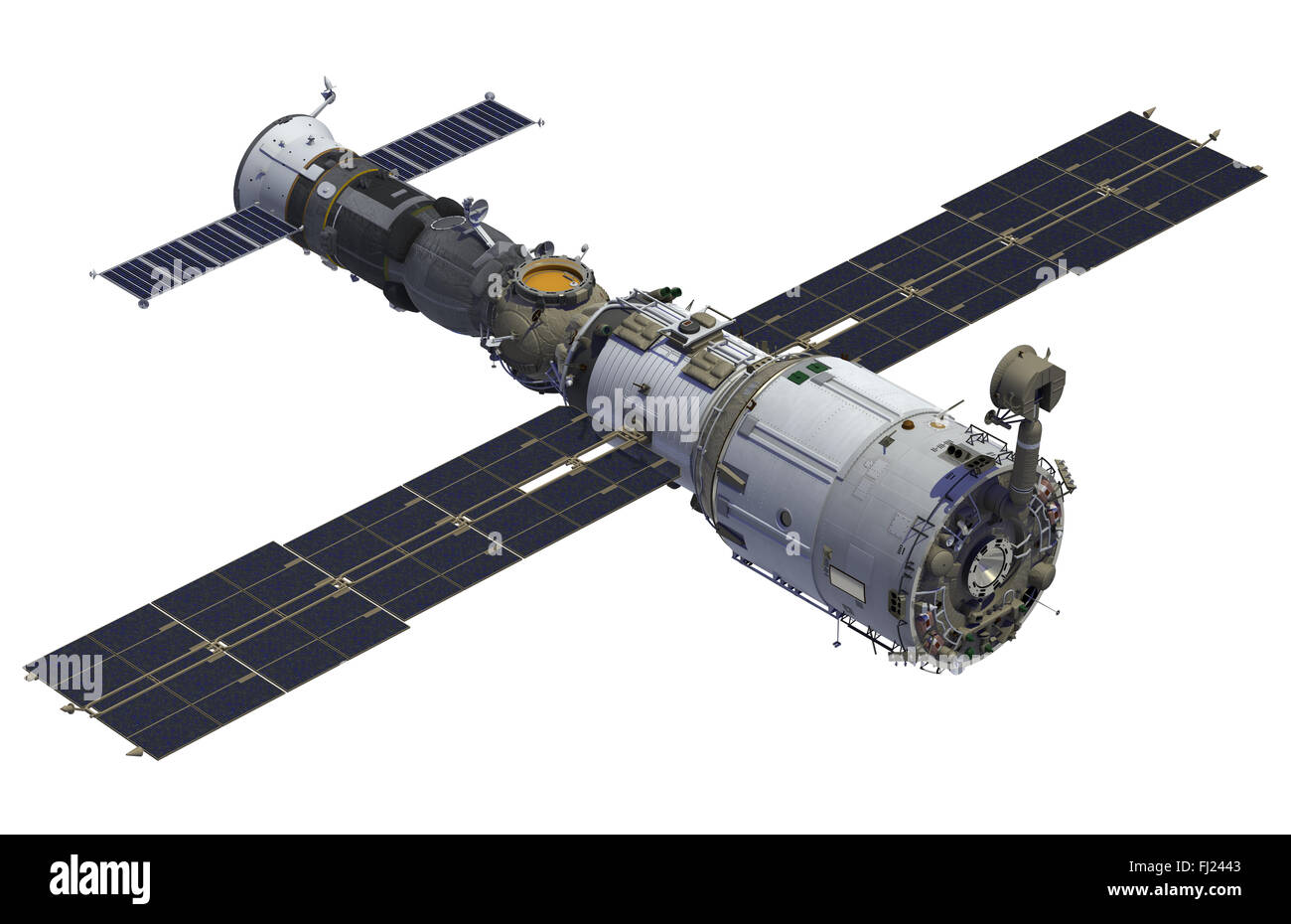Space Station And Spacecraft On White Background. 3D Model. - Stock Image