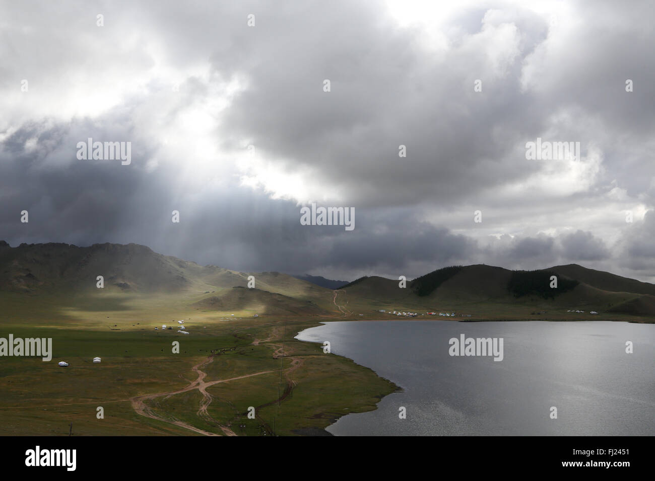 Landscape : lake Terkhiin Tsagaan, also known as «White Lake» in Mongolia - Stock Image