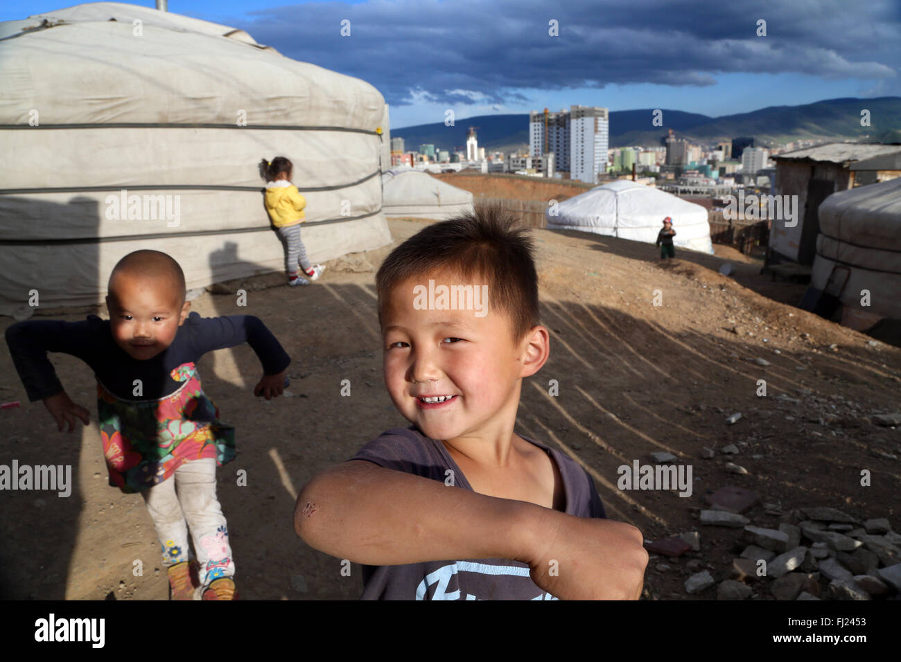 Portrait of a children in Mongolia - Stock Image