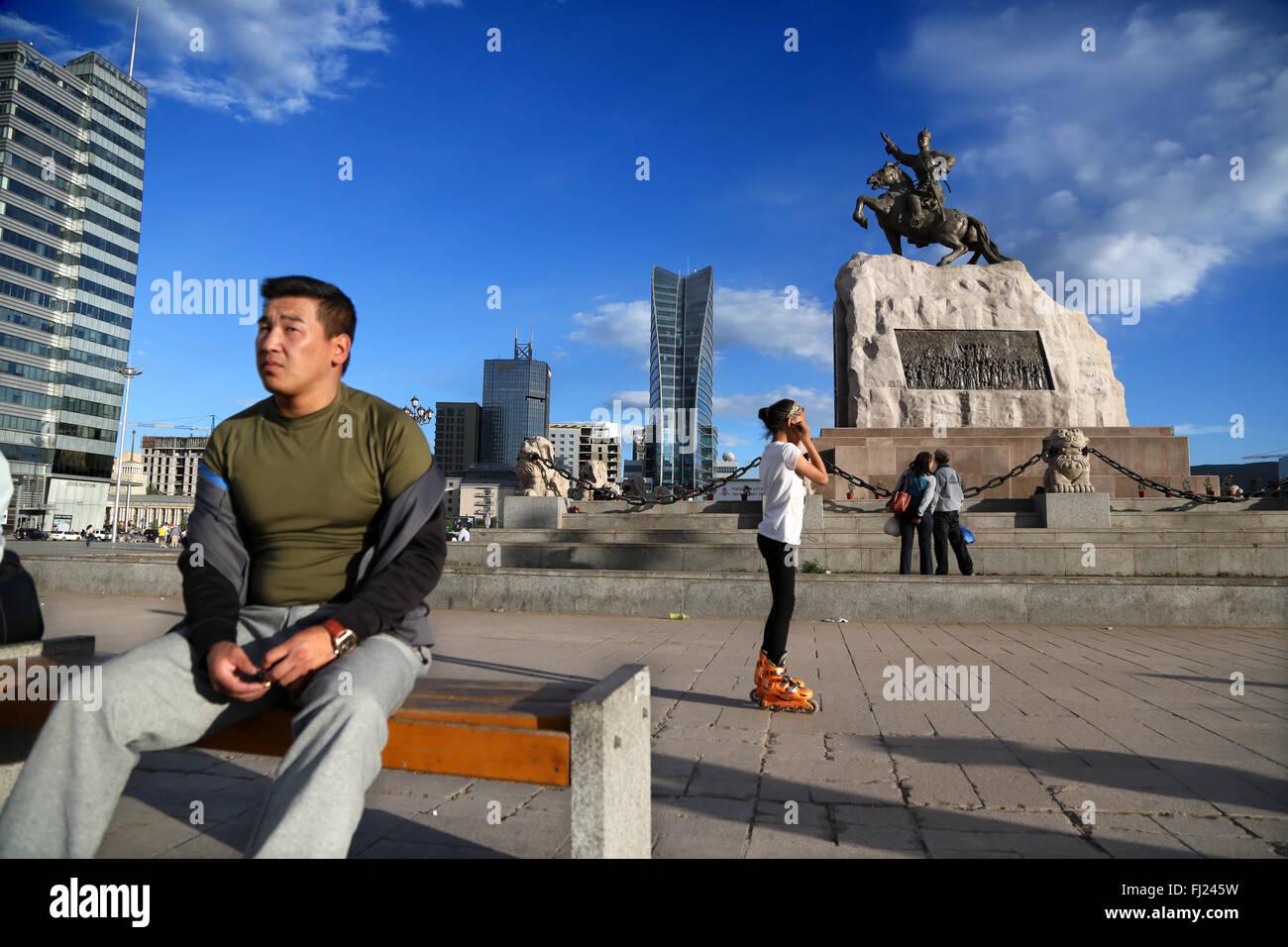 Genghis Khan Square, Ulanbataar - Stock Image