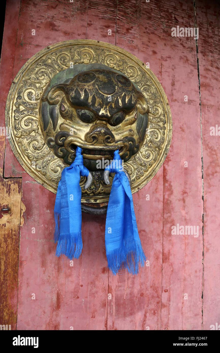 Door bell inside the Inside the Erdene Zuu monastery , Mongolia - Stock Image